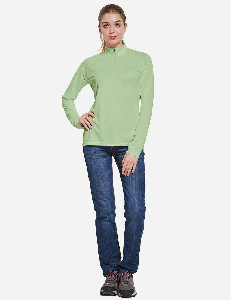 Baleaf Womens UPF50+ Collared Long Sleeved Comfort Fit T-Shirt w Thumbholes Sage Full