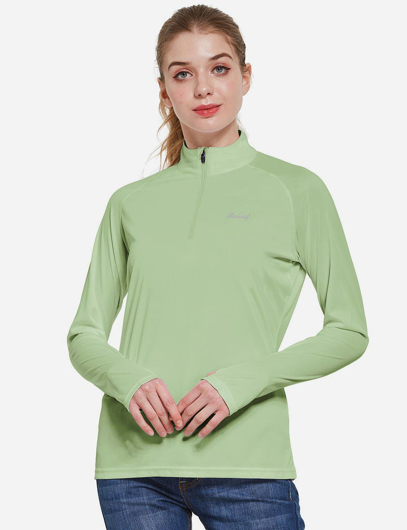 Baleaf Womens UPF50+ Collared Long Sleeved Comfort Fit T-Shirt w Thumbholes Sage Front