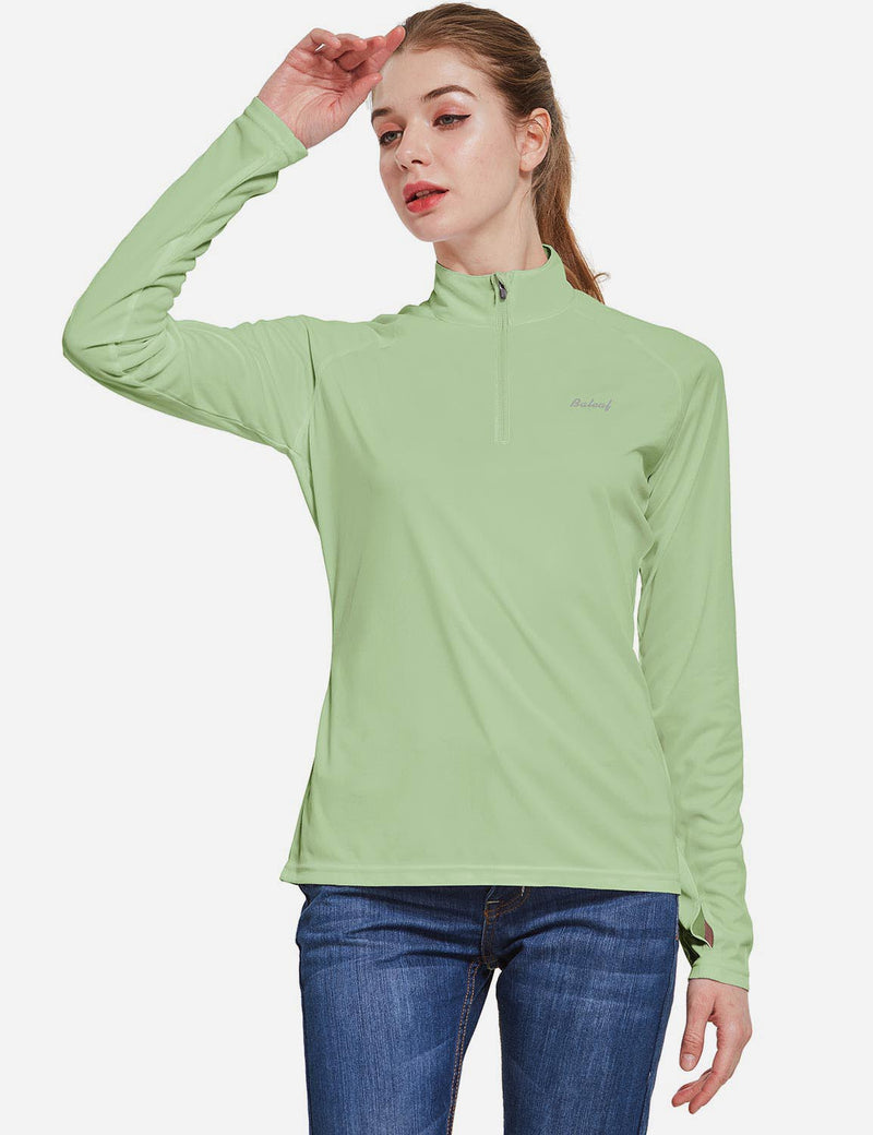 Baleaf Womens UPF50+ Collared Long Sleeved Comfort Fit T-Shirt w Thumbholes Sage Side