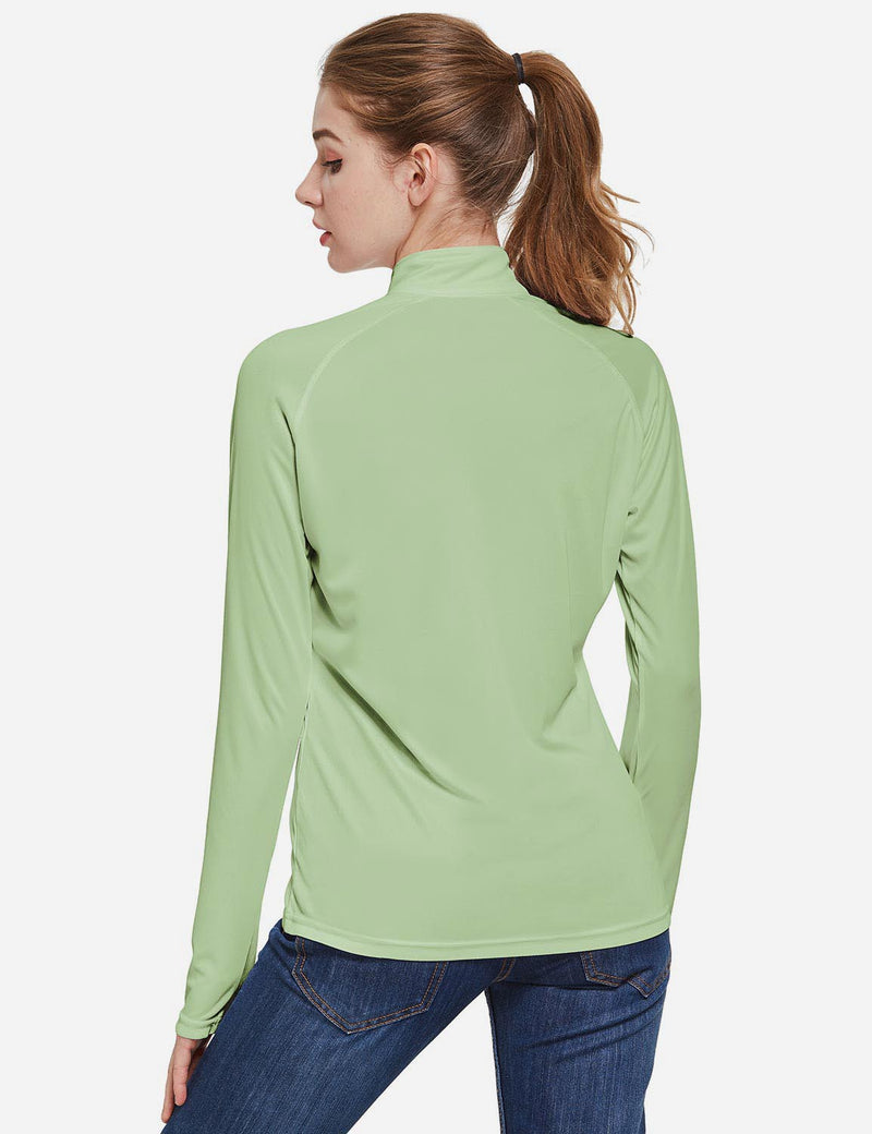 Baleaf Womens UPF50+ Collared Long Sleeved Comfort Fit T-Shirt w Thumbholes Sage Back