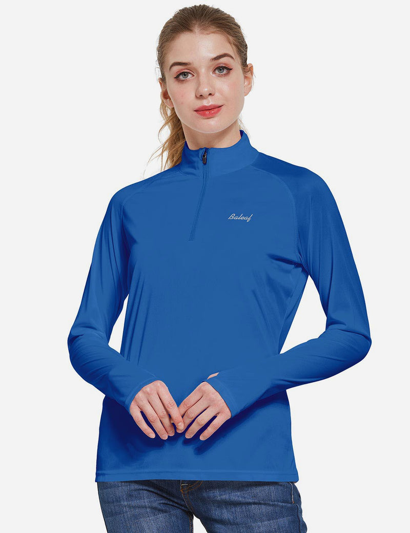 Baleaf Womens UPF50+ Collared Long Sleeved Comfort Fit T-Shirt w Thumbholes Ocean Blue Front