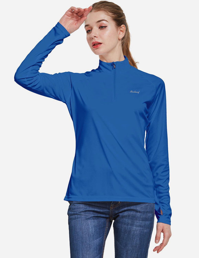 Baleaf Womens UPF50+ Collared Long Sleeved Comfort Fit T-Shirt w Thumbholes Ocean Blue Side