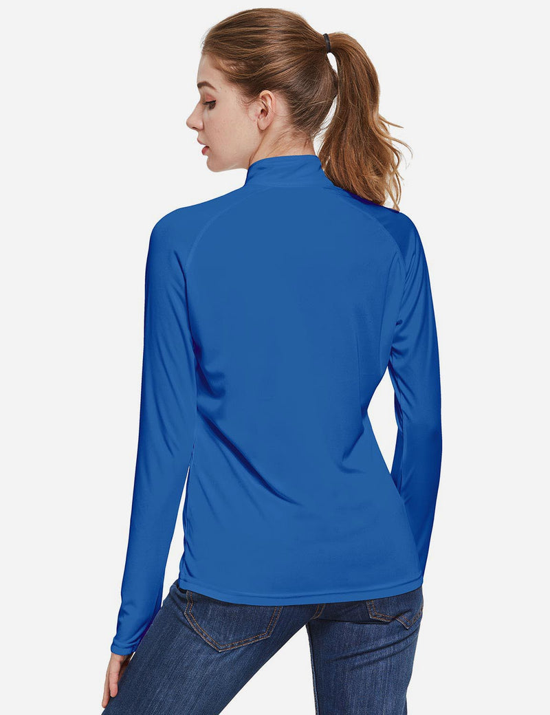 Baleaf Womens UPF50+ Collared Long Sleeved Comfort Fit T-Shirt w Thumbholes Ocean Blue Back