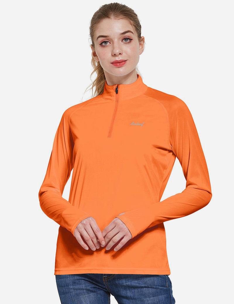 Baleaf Womens UPF50+ Collared Long Sleeved Comfort Fit T-Shirt w Thumbholes Orange Front