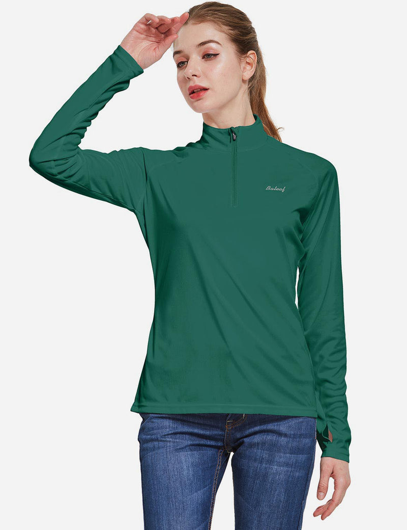 Baleaf Womens UPF50+ Collared Long Sleeved Comfort Fit T-Shirt w Thumbholes Dark Green Side