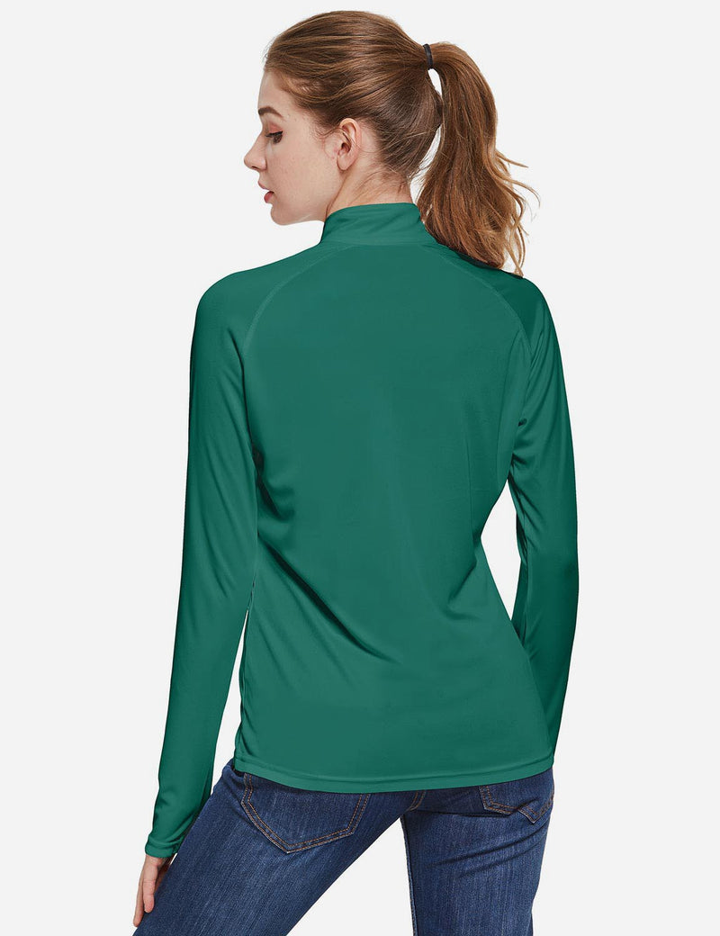 Baleaf Womens UPF50+ Collared Long Sleeved Comfort Fit T-Shirt w Thumbholes Dark Green Back