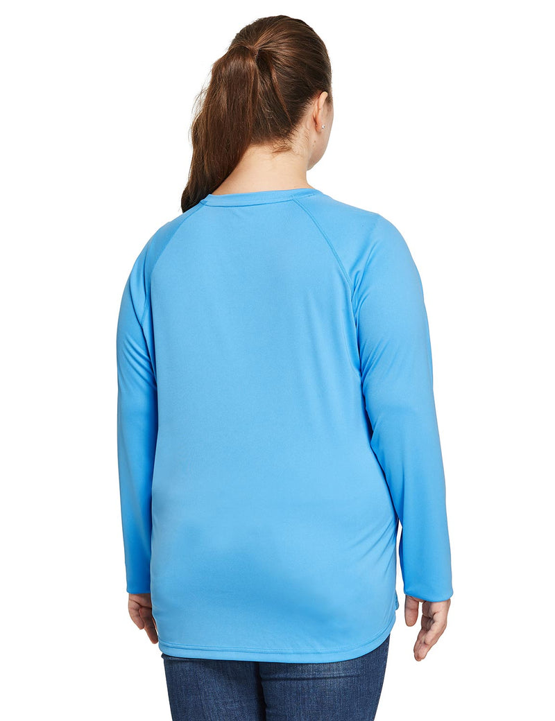 Baleaf Women's UPF 50+ Plus Size Long Sleeved Round Neck Performance Shirt Blue Back