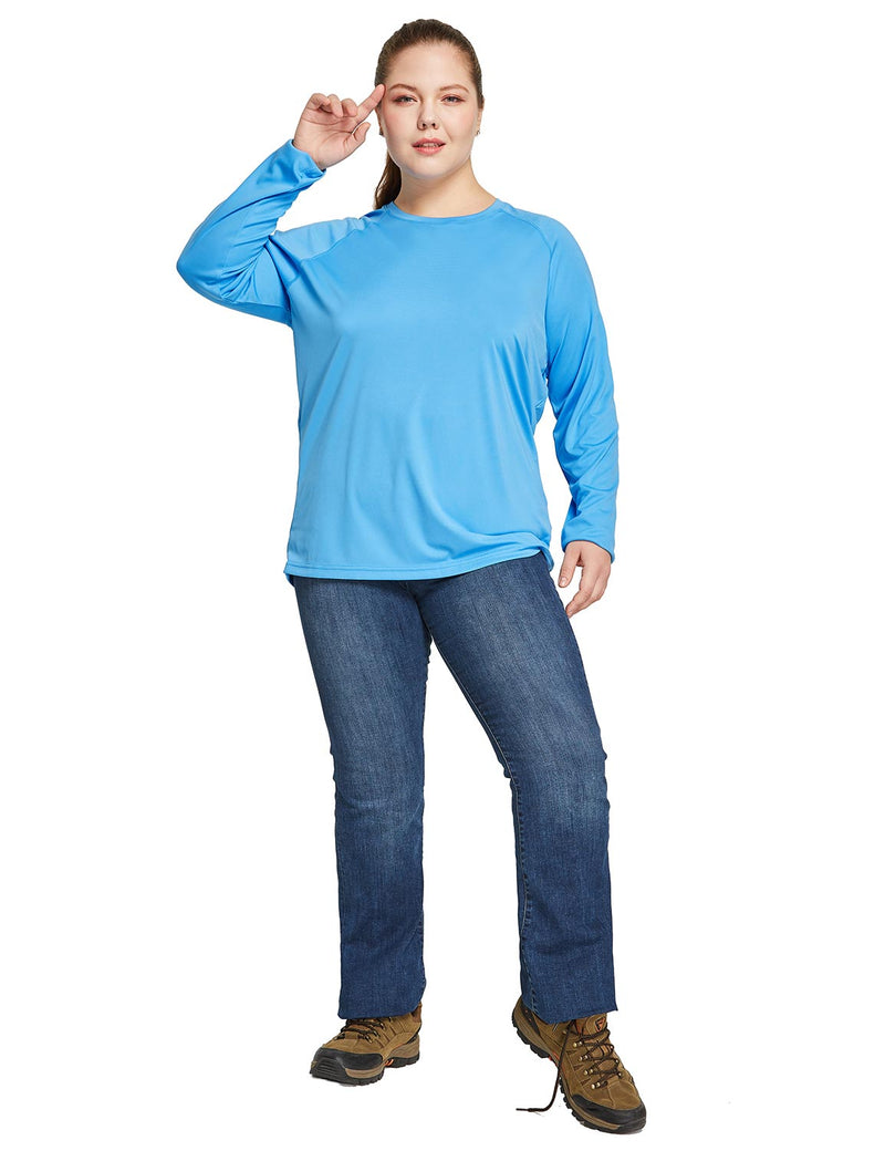 Baleaf Women's UPF 50+ Plus Size Long Sleeved Round Neck Performance Shirt Blue Full
