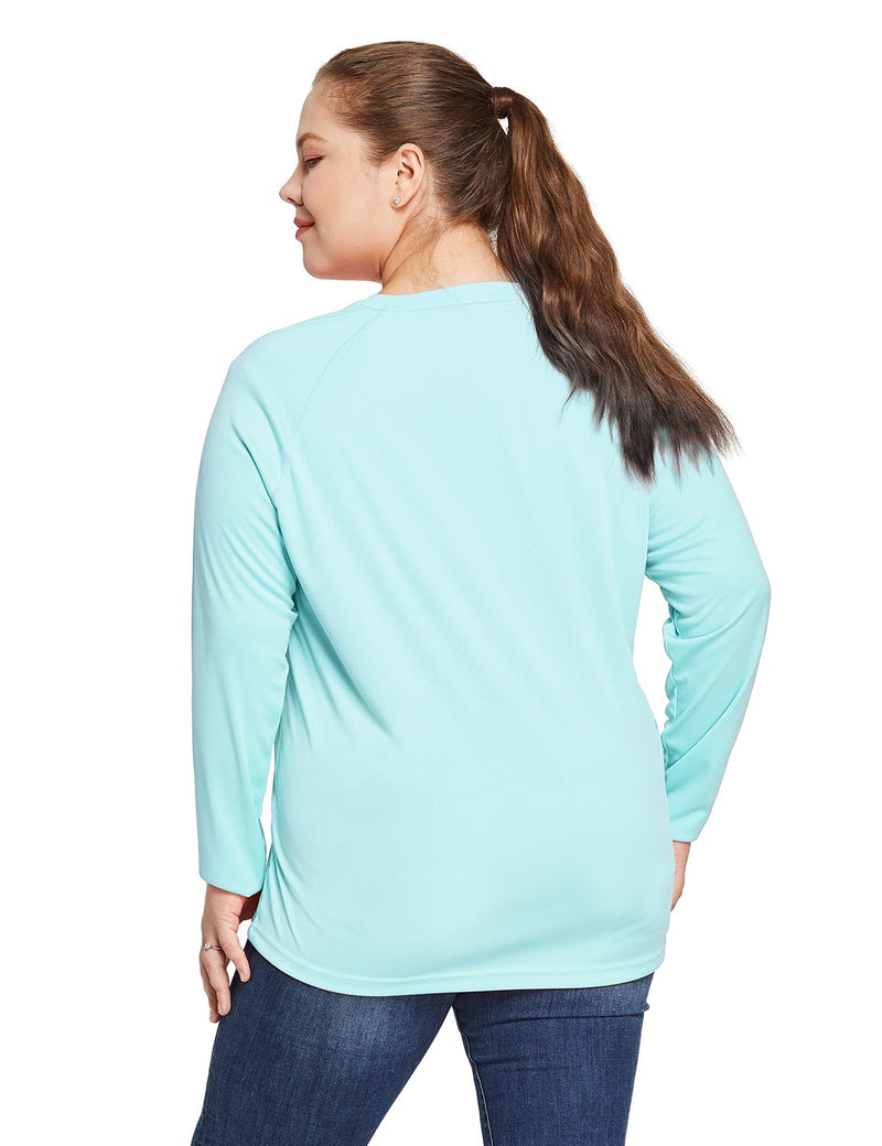 Baleaf Women's UPF 50+ Plus Size Long Sleeved Round Neck Performance Shirt Light Green Back