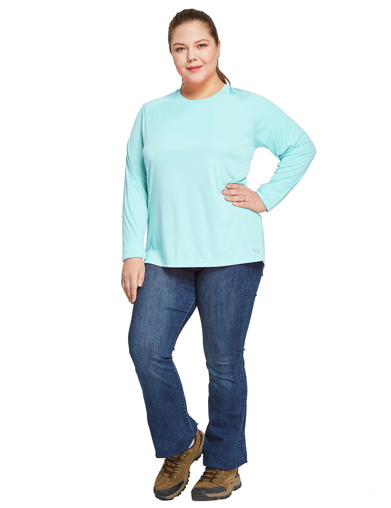 Baleaf Women's UPF 50+ Plus Size Long Sleeved Round Neck Performance Shirt Light Green Full
