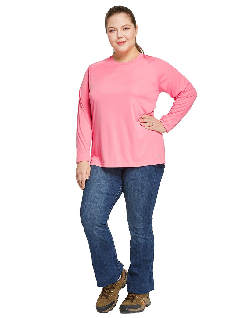 Baleaf Women's UPF 50+ Plus Size Long Sleeved Round Neck Performance Shirt Pink Full