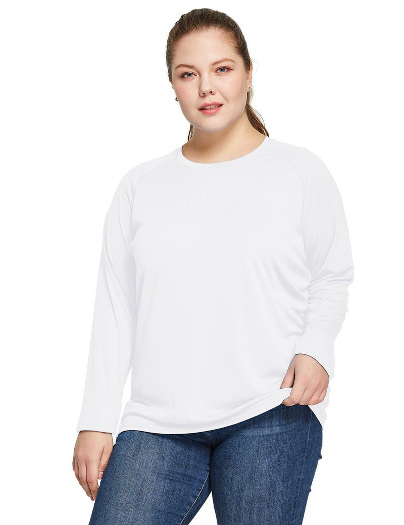 Baleaf Women's UPF 50+ Plus Size Long Sleeved Round Neck Performance Shirt White Front