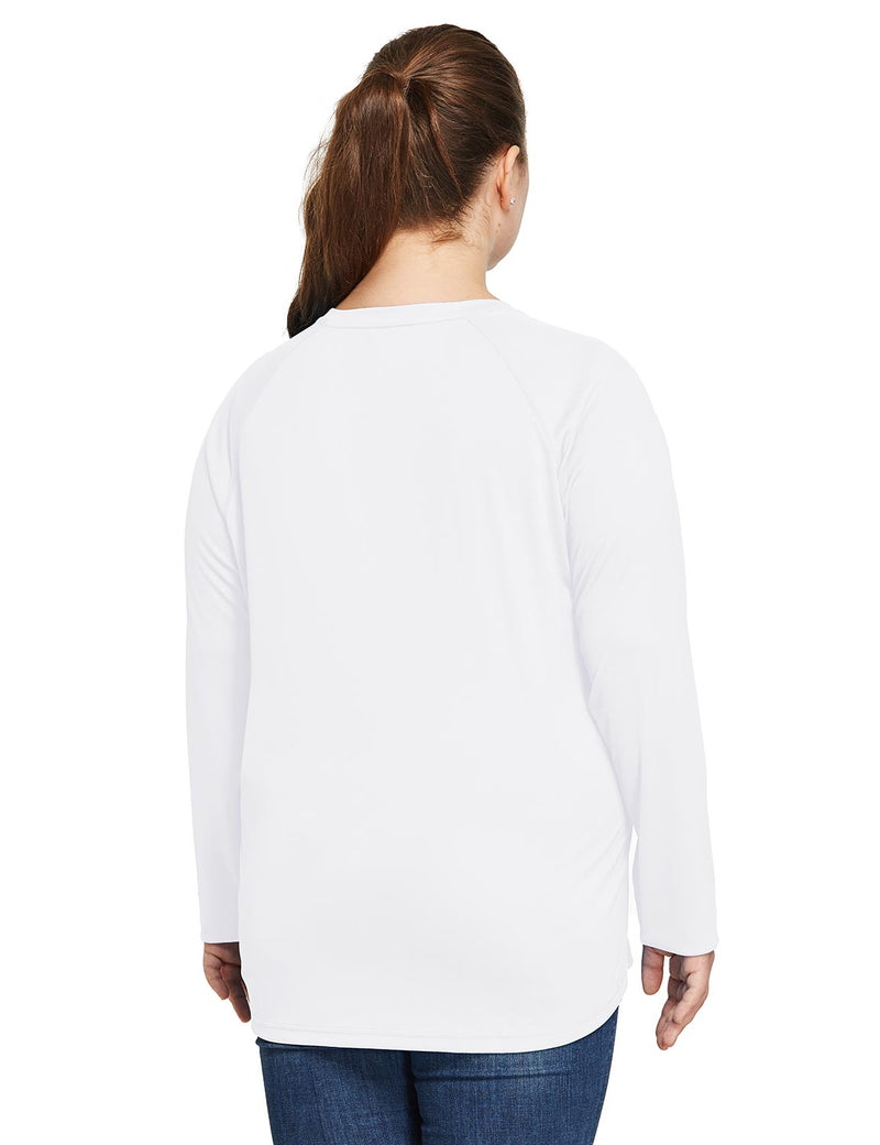 Baleaf Women's UPF 50+ Plus Size Long Sleeved Round Neck Performance Shirt White Back