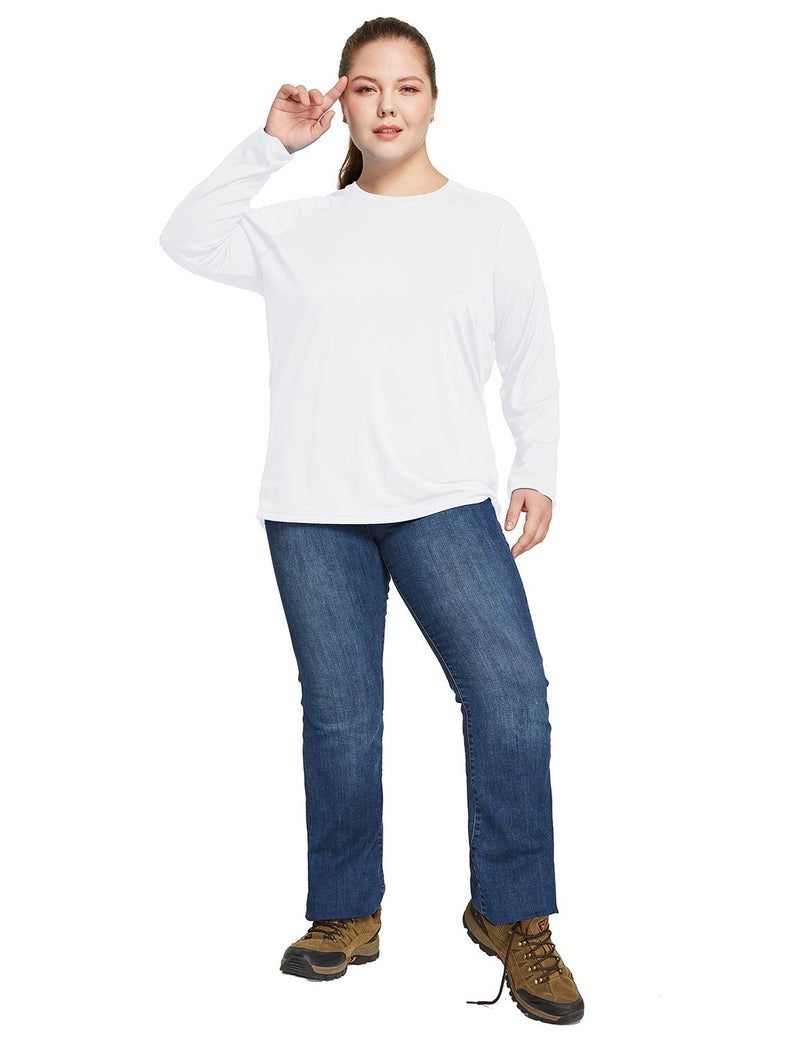 Baleaf Women's UPF 50+ Plus Size Long Sleeved Round Neck Performance Shirt White Full
