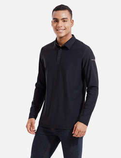 Baleaf Mens Evo UPF 50+ Quick Dry Collared Long Sleeved Polo Shirt Black Front