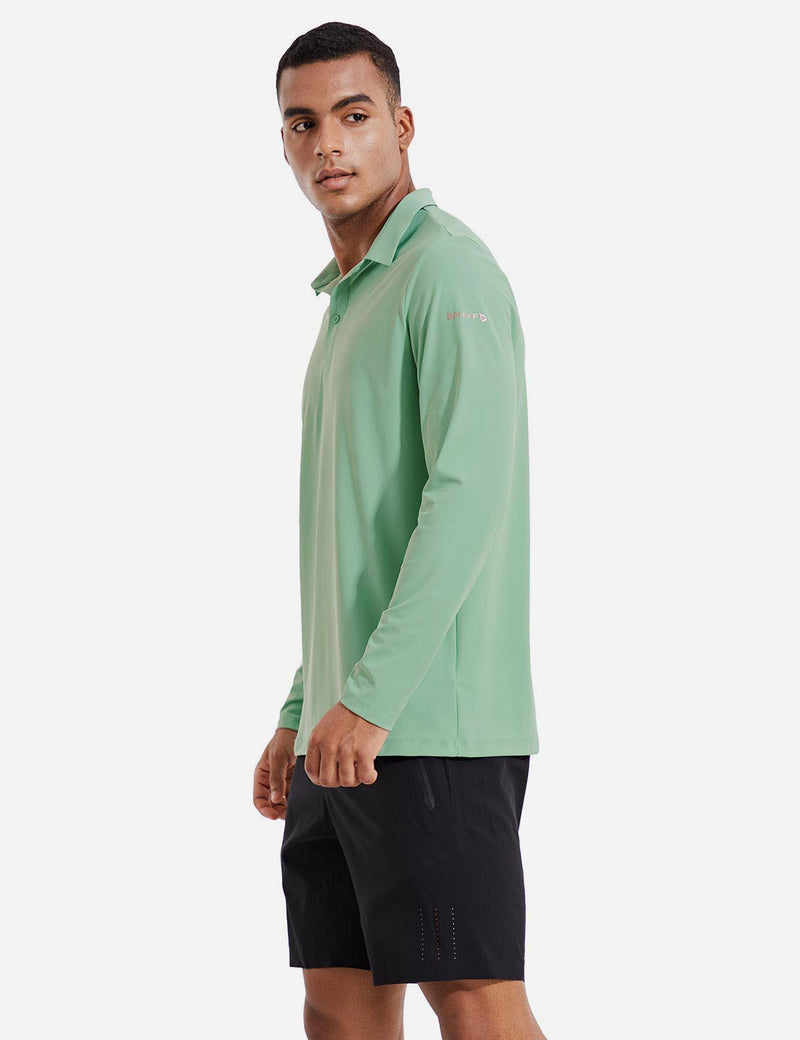 Baleaf Mens Evo UPF 50+ Quick Dry Collared Long Sleeved Polo Shirt Green Side