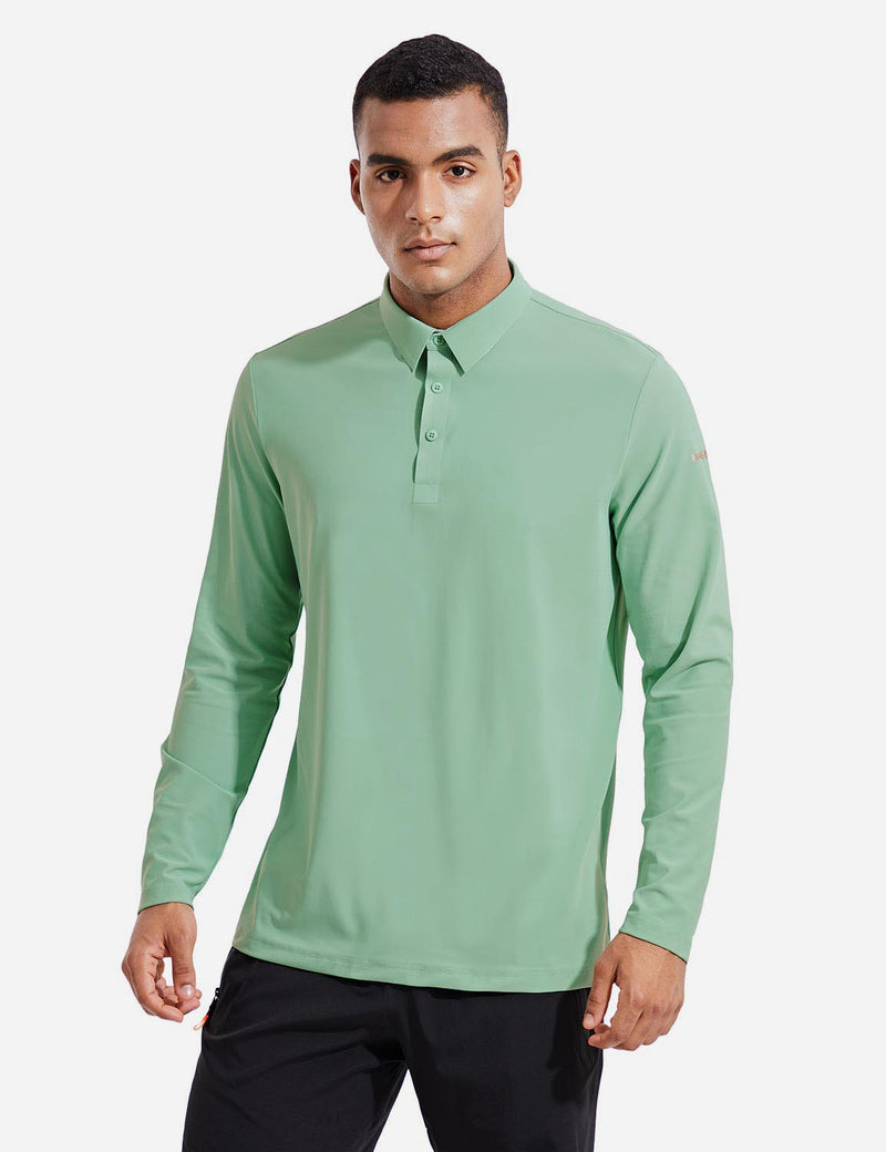 Baleaf Mens Evo UPF 50+ Quick Dry Collared Long Sleeved Polo Shirt Green Front