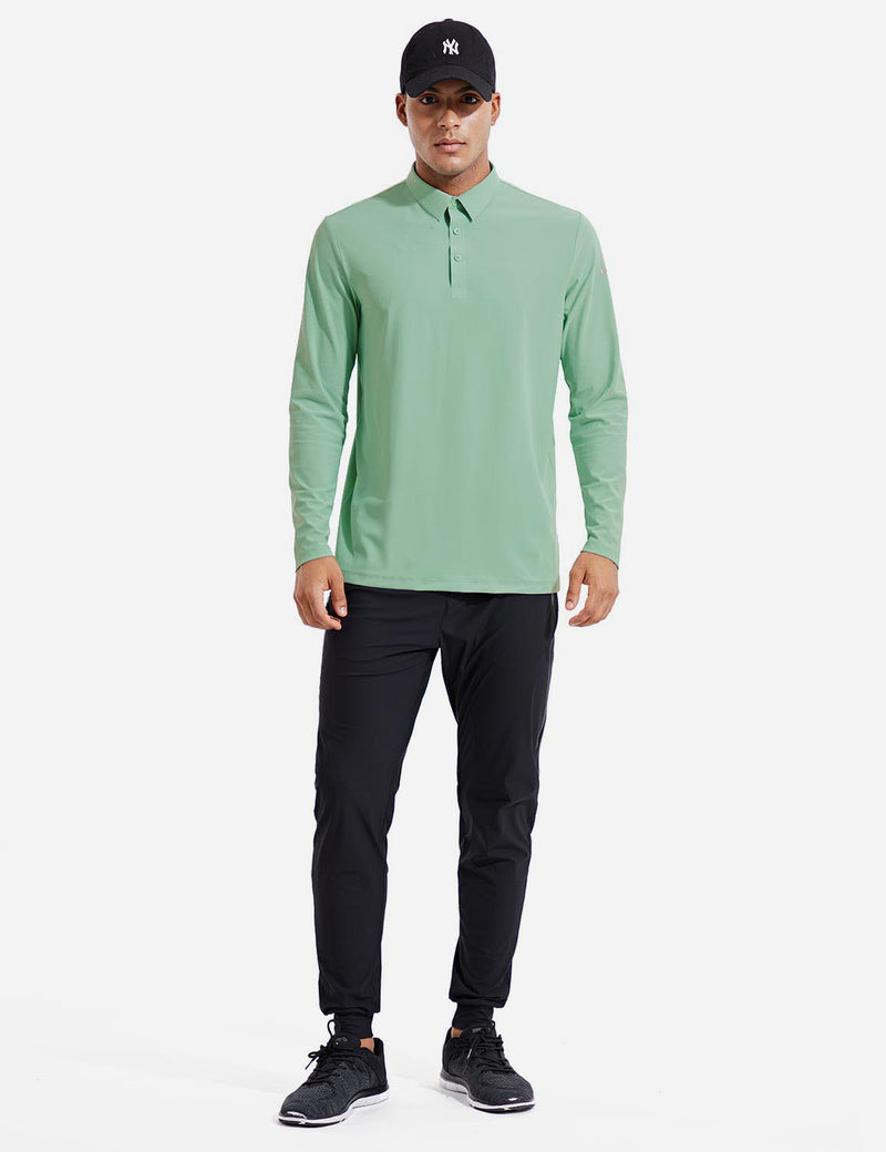 Baleaf Mens Evo UPF 50+ Quick Dry Collared Long Sleeved Polo Shirt Green Full