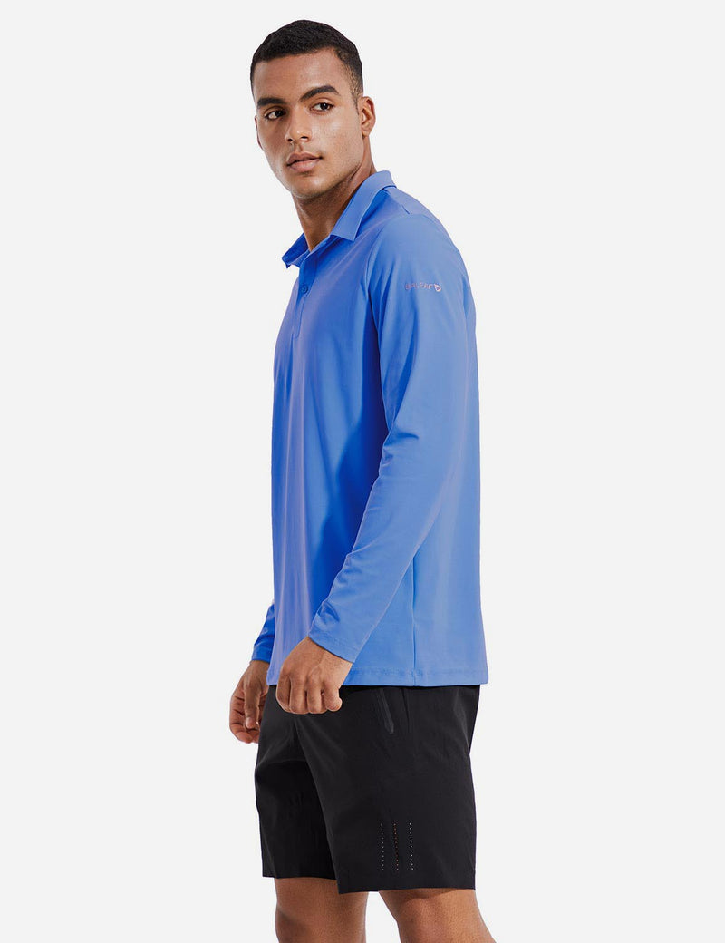 Baleaf Mens Evo UPF 50+ Quick Dry Collared Long Sleeved Polo Shirt Blue Side