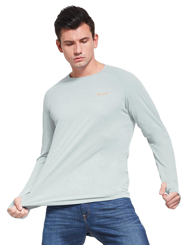 Baleaf Mens UPF50+ Comfort Fit Mockneck Long Sleeved Shirt Light Gray front