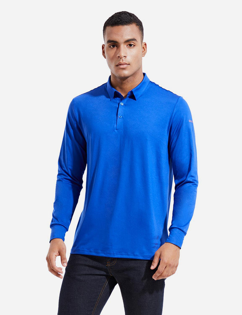 Baleaf Mens EVO UPF 50+ Quick Dry Button Up Seamless Casual Long Sleeved Shirt Blue Front