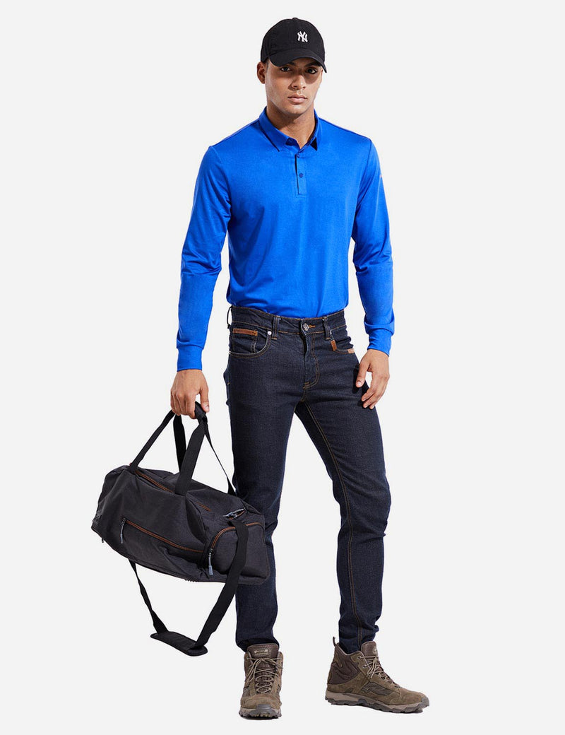 Baleaf Mens EVO UPF 50+ Quick Dry Button Up Seamless Casual Long Sleeved Shirt Blue Full