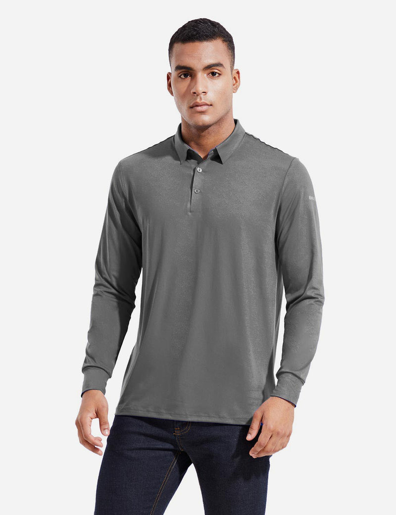 Baleaf Mens EVO UPF 50+ Quick Dry Button Up Seamless Casual Long Sleeved Shirt Gray Front
