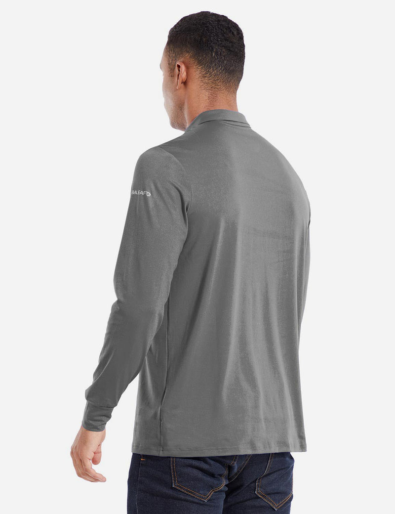 Baleaf Mens EVO UPF 50+ Quick Dry Button Up Seamless Casual Long Sleeved Shirt Gray Back