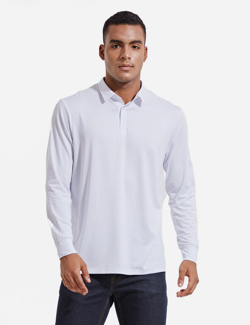 Baleaf Mens EVO UPF 50+ Quick Dry Button Up Seamless Casual Long Sleeved Shirt White Front