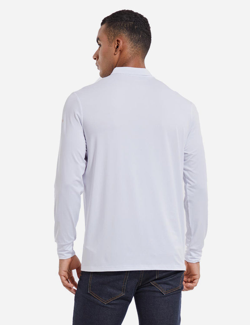 Baleaf Mens EVO UPF 50+ Quick Dry Button Up Seamless Casual Long Sleeved Shirt White Back