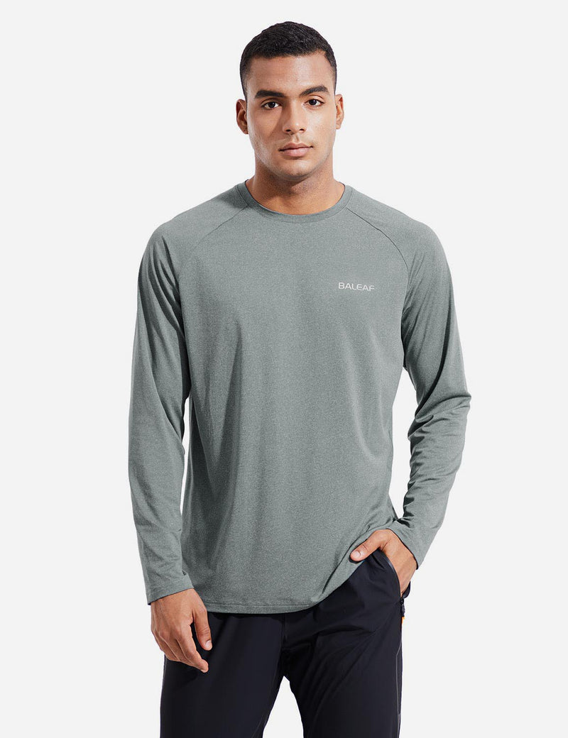 Baleaf Mens Evo UPF 50+ Quick Dry Raglan Casual Long Sleeved Shirt Gray Front