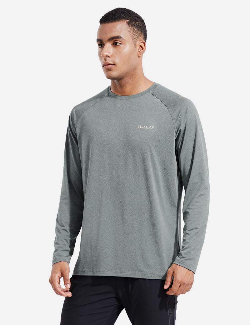 Baleaf Mens Evo UPF 50+ Quick Dry Raglan Casual Long Sleeved Shirt Gray Side