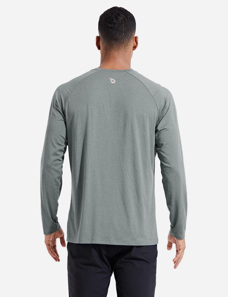 Baleaf Mens Evo UPF 50+ Quick Dry Raglan Casual Long Sleeved Shirt Gray Back