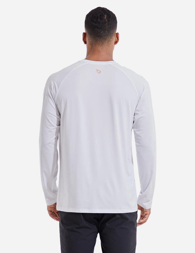 Baleaf Mens Evo UPF 50+ Quick Dry Raglan Casual Long Sleeved Shirt White Back