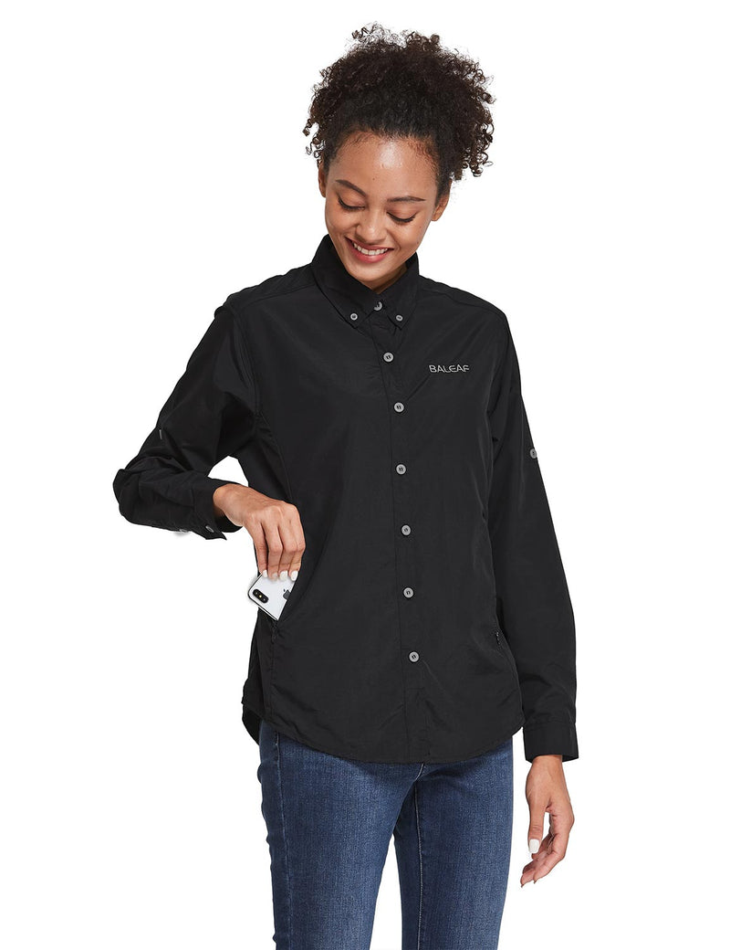 Baleaf Womens UPF 50+ Roll Up Quick Dry Mesh Pocketed Casual Long Sleeved Shirt Black Front