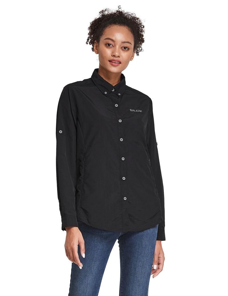 Baleaf Womens UPF 50+ Roll Up Quick Dry Mesh Pocketed Casual Long Sleeved Shirt Black Side