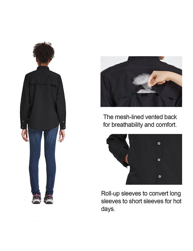 Baleaf Womens UPF 50+ Roll Up Quick Dry Mesh Pocketed Casual Long Sleeved Shirt Black Details