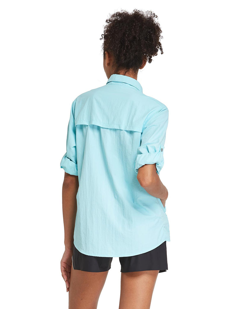 Baleaf Womens UPF 50+ Roll Up Quick Dry Mesh Pocketed Casual Long Sleeved Shirt Blue Back