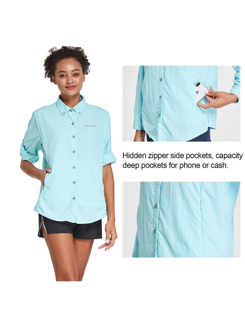 Baleaf Womens UPF 50+ Roll Up Quick Dry Mesh Pocketed Casual Long Sleeved Shirt Blue Details