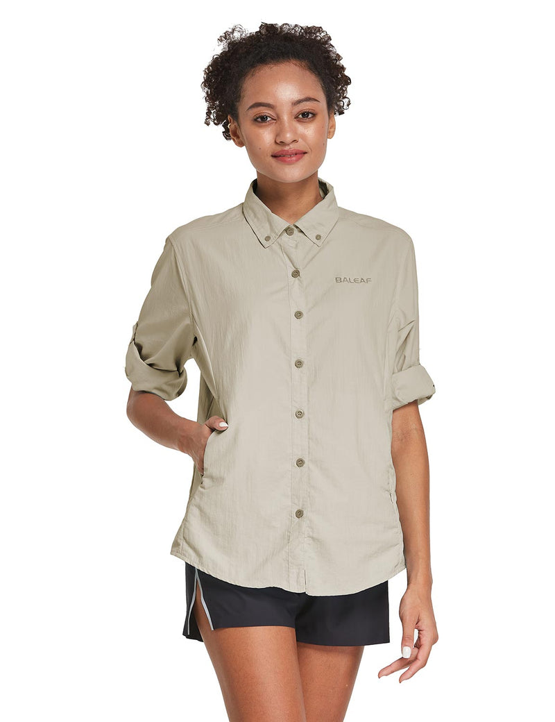 Baleaf Womens UPF 50+ Roll Up Quick Dry Mesh Pocketed Casual Long Sleeved Shirt Khaki Front