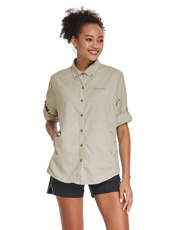 Baleaf Womens UPF 50+ Roll Up Quick Dry Mesh Pocketed Casual Long Sleeved Shirt Khaki Side