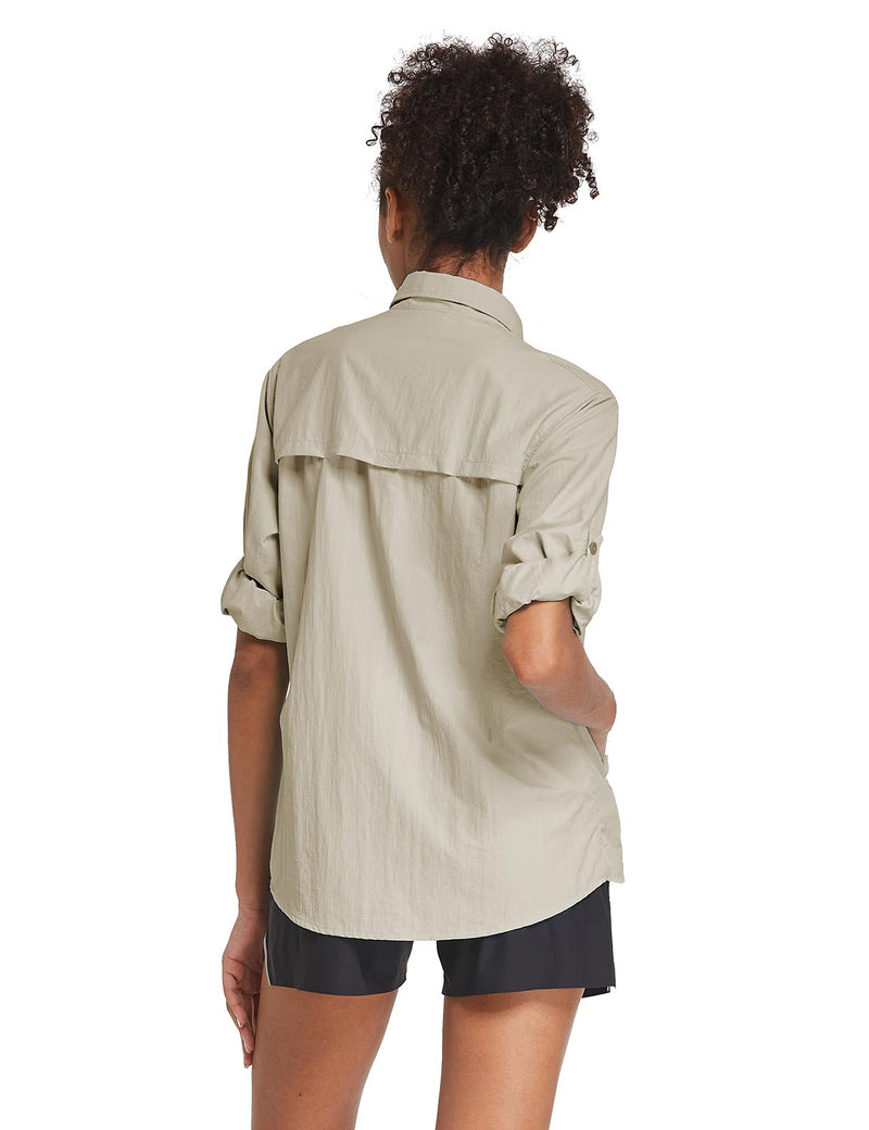 Baleaf Womens UPF 50+ Roll Up Quick Dry Mesh Pocketed Casual Long Sleeved Shirt Khaki Back