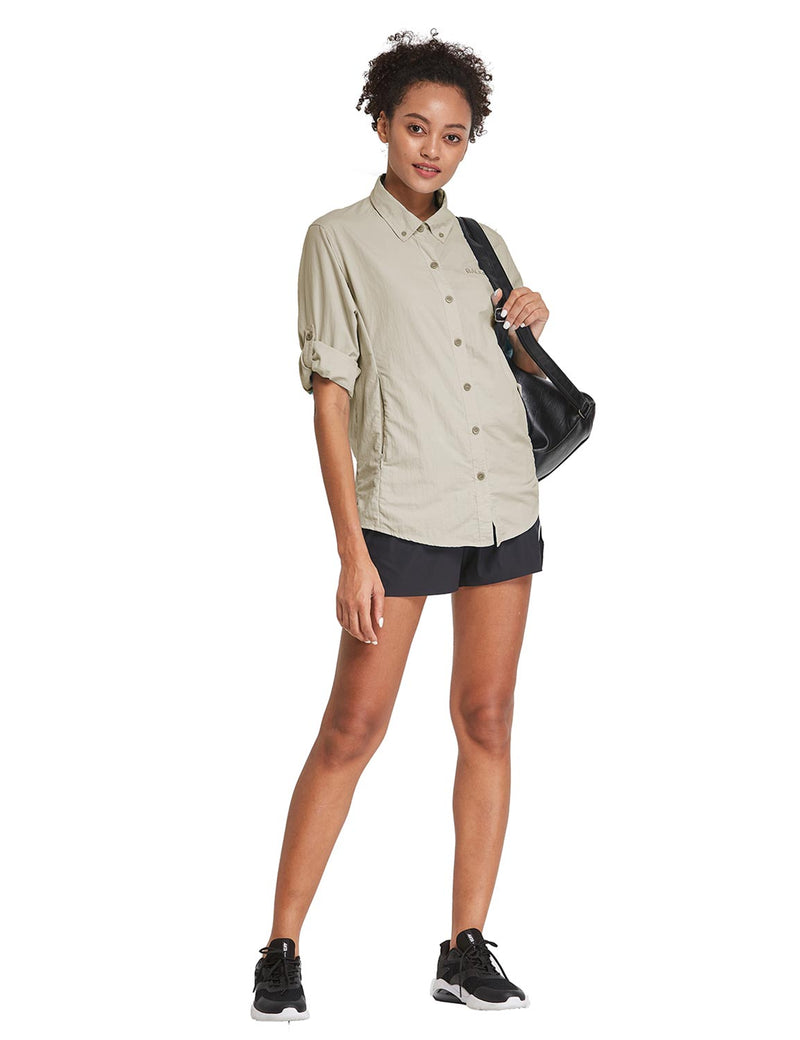 Baleaf Womens UPF 50+ Roll Up Quick Dry Mesh Pocketed Casual Long Sleeved Shirt Khaki Full