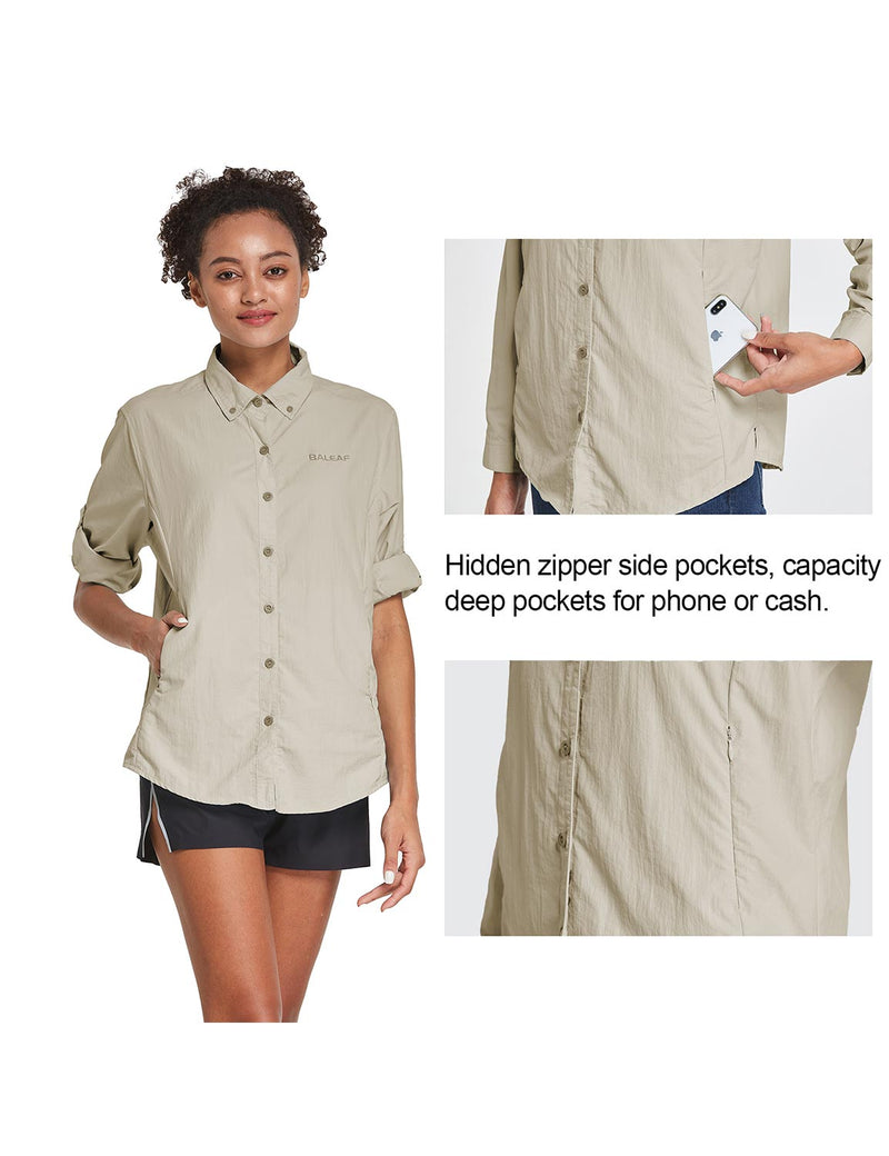 Baleaf Womens UPF 50+ Roll Up Quick Dry Mesh Pocketed Casual Long Sleeved Shirt Khaki Details