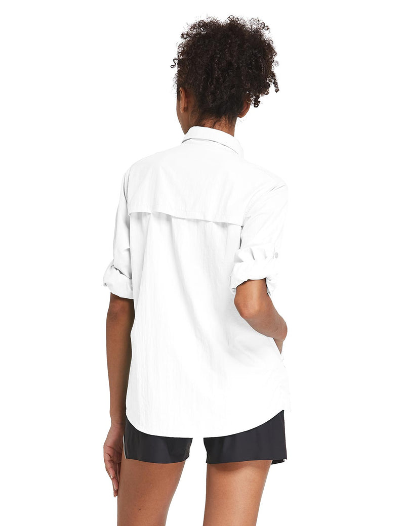 Baleaf Womens UPF 50+ Roll Up Quick Dry Mesh Pocketed Casual Long Sleeved Shirt White Back