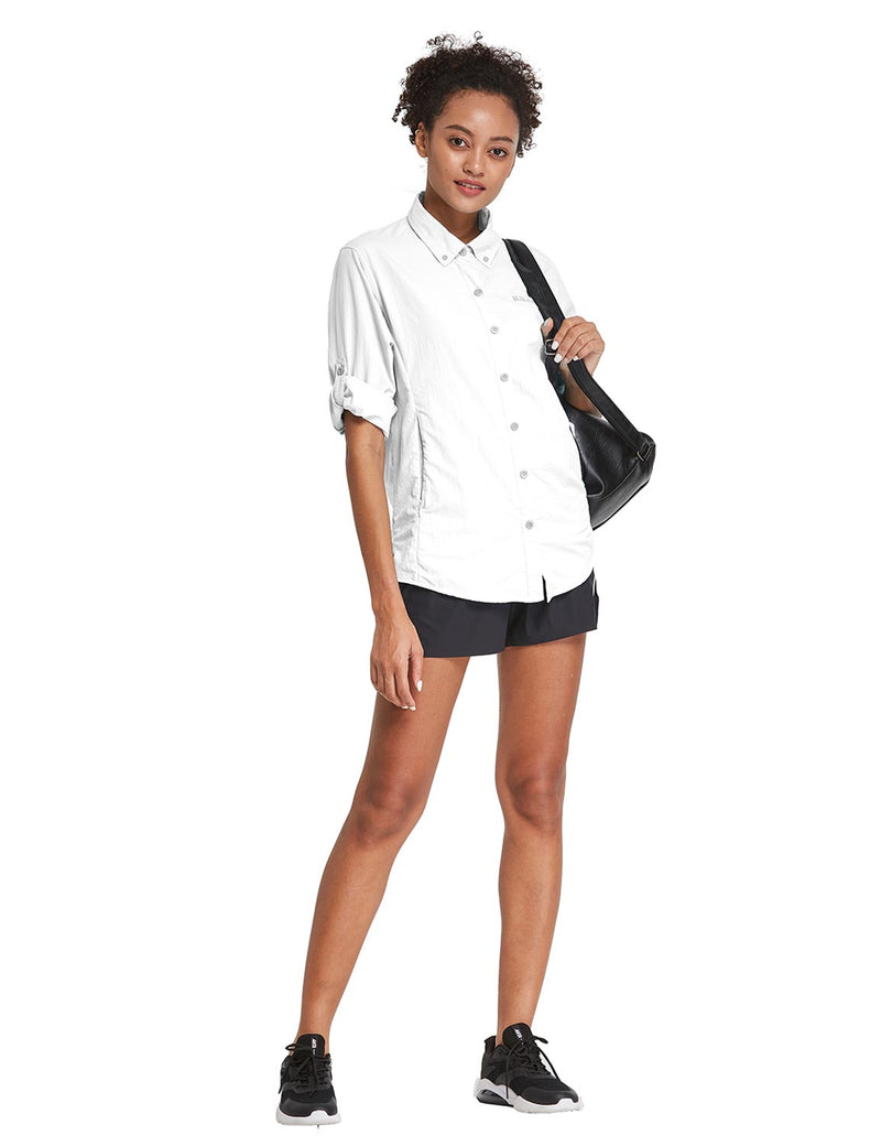 Baleaf Womens UPF 50+ Roll Up Quick Dry Mesh Pocketed Casual Long Sleeved Shirt White Full