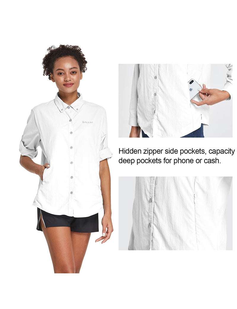 Baleaf Womens UPF 50+ Roll Up Quick Dry Mesh Pocketed Casual Long Sleeved Shirt White Details