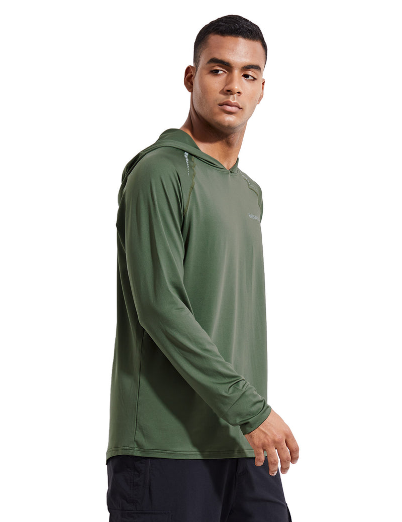 Baleaf Mens UPF 50+ Digital Printed Hooded Long Sleeved Shirt w Thumbholes Army Green Side