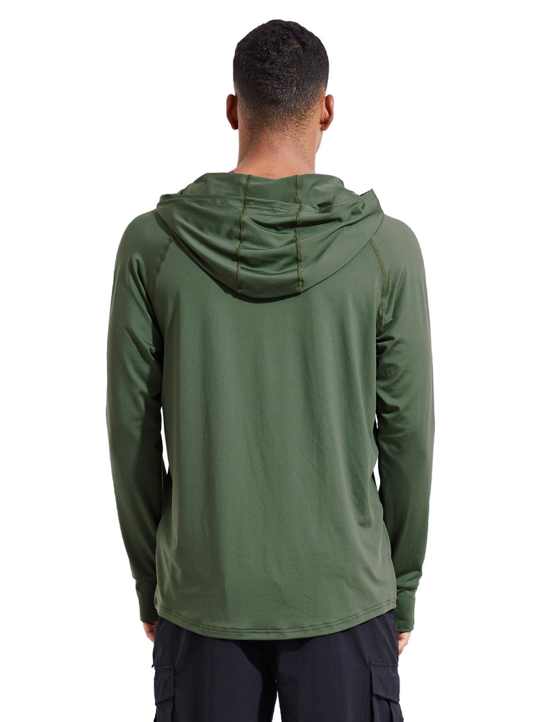 Baleaf Mens UPF 50+ Digital Printed Hooded Long Sleeved Shirt w Thumbholes Army Green Back