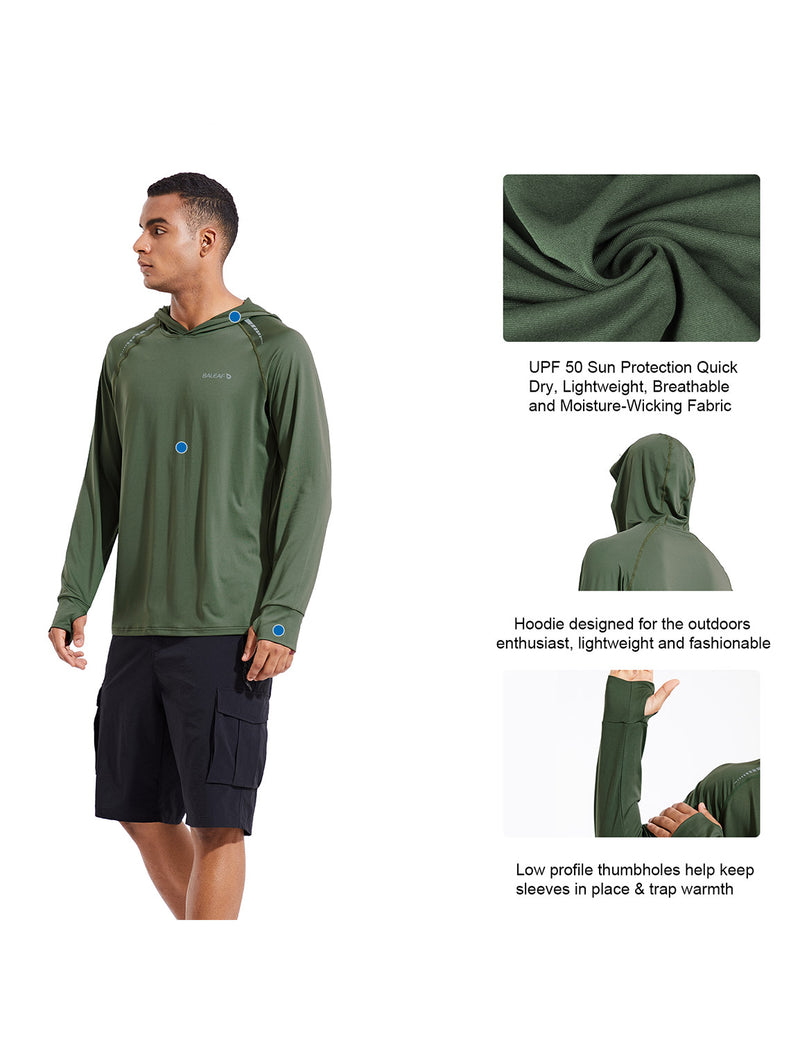 Baleaf Mens UPF 50+ Digital Printed Hooded Long Sleeved Shirt w Thumbholes Army Green Details